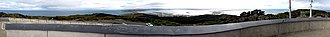 Bluff, New Zealand - Panorama from the summit of Bluff Hill. The Bluff port is in the centre, and the aluminium smelter in the mid-distance in the centre-right