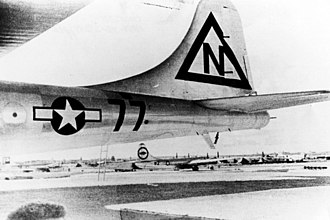 Bockscar - Bockscar with temporary triangle N tail marking, on 9 August 1945, the day of its atomic bombing mission