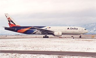 2002 Winter Olympics torch relay - Delta's Soaring Spirit was used to transport the flame from Greece to the United States.