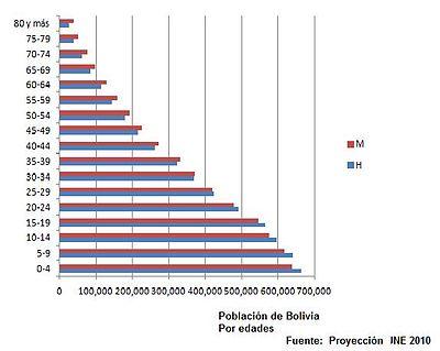 Pirámide de población de Bolivia en 2010 [ 2 ]