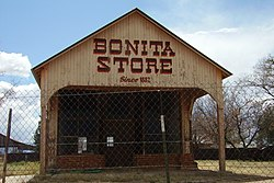 The Bonita Store in Bonita, formerly a saloon where William H. Bonny shot a local blacksmith for hacking on him
