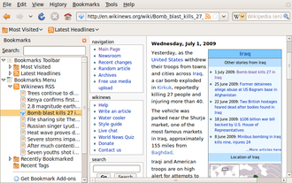 Bookmark (World Wide Web) - The bookmarks sidebar in Mozilla Firefox 3.0. An alternative to the bookmarks menu, it is similar to sidebars found in Internet Explorer, Opera, and Safari.