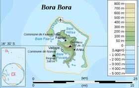 Carte topographique de Bora-Bora.