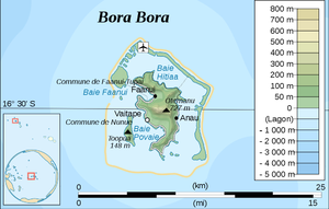 Vaitape - Map of Bora Bora showing the location of Vaitape