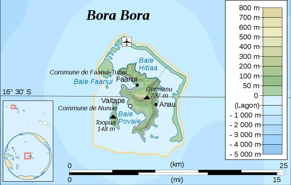 BoraBora without Tupai topographic map-fr