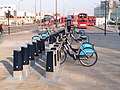 Boris bikes at Westfield, NW docking station - geograph.org.uk - 2844535.jpg