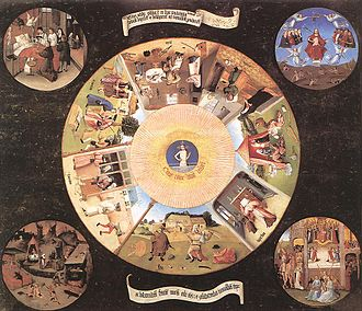 """Anger - The Seven Deadly Sins and the Four Last Things, by Hieronymus Bosch (1485). """"Wrath"""" is depicted at the bottom in a series of circular images. Below the image is the Latin inscription Cave Cave Deus Videt (""""Beware, Beware, God is Watching"""")."""