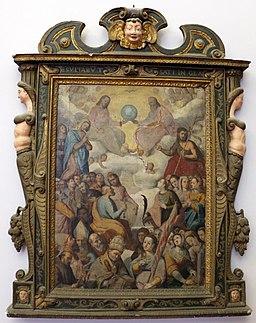 Bottega di felice damiani, trinità e santi, 1590-1610 circa