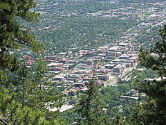 Mountainside view of Downtown Boulder