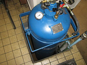 Compressed air energy storage - A pressurized air tank used to start a diesel generator set in Paris Metro