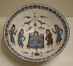 Bowl w. enthroned figure & attendants, Mina'i ware, Central Iran, Seljuk period, late 12th or early 13th century, earthenware with polychrome enamels and gold over white glaze - Cincinnati Art Museum - DSC04021.JPG