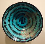 Bowl with zigzag decoration, Syria, Ayyubid period, late 12th or early 13th century, earthenware with black paining under turquoise glaze - Cincinnati Art Museum - DSC04044.JPG
