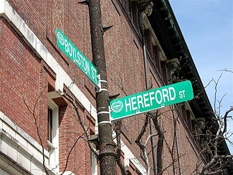 Boylston Street - Street signs at Boylston and Hereford Streets
