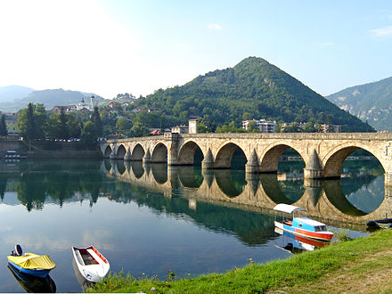 Mehmed Pasa Sokolovic Bridge, completed in 1577 by Mimar Sinan, the greatest architect of the classical period of Ottoman architecture Bridge on the Drina July 2009.jpg