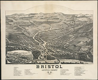 Bristol, New Hampshire - 1884 bird's-eye view of Bristol
