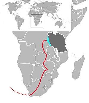HMS Mimi and HMS Toutou - Approximate route of Mimi and Toutou overland to Lake Tanganyika (July-October 1915).