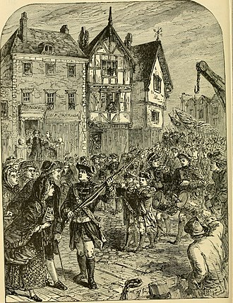 Massachusetts Convention of Towns - British troops entering Boston, 1768. Illustration from a 1904 history book.