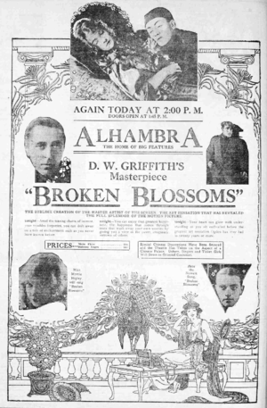 Broken Blossoms - Newspaper ad for the film