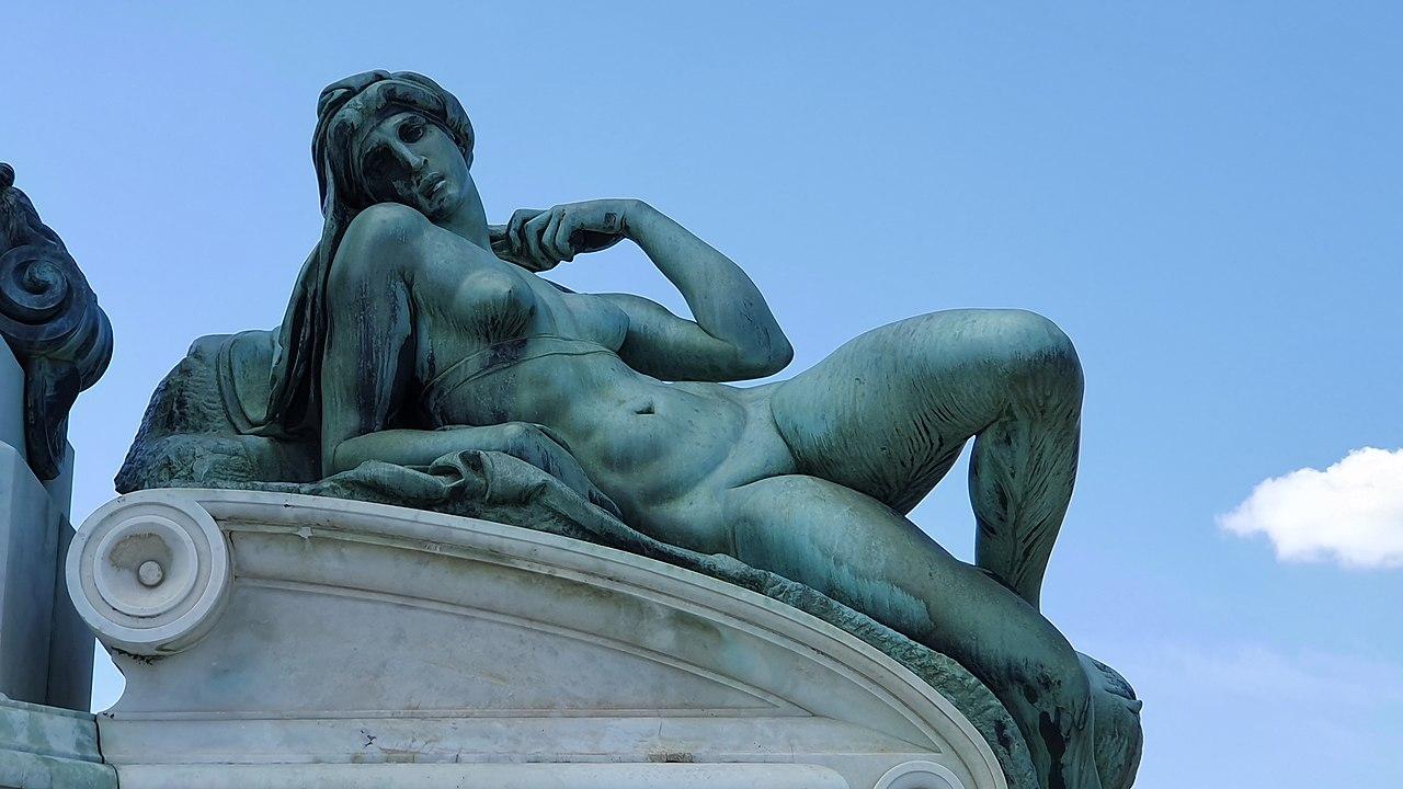 Piazzale Michelangelo, bronze replica of Dawn, after Michelangelo's sculptures on the tomb of Lorenzo de' Medici