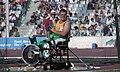 Btendan Bowden throwing discus, Barcelona 1992 Paralympics.jpg