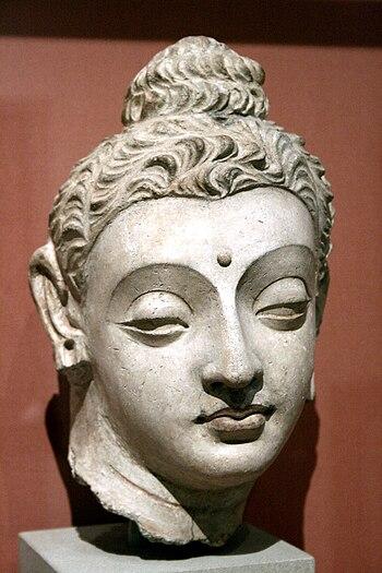English: Head of the Buddha from Hadda, Centra...