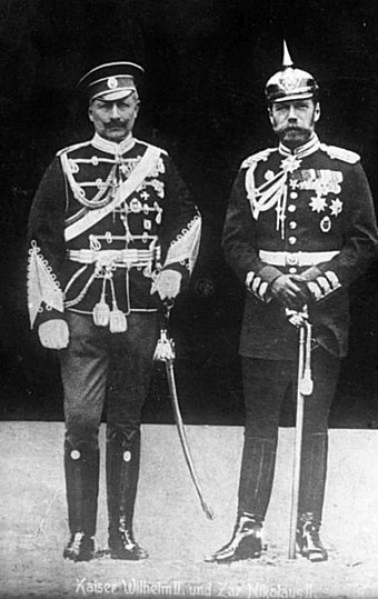 Cousins Kaiser Wilhelm II of Germany with Nicholas II of Russia in 1905, each in the military uniform of the other nation. Bundesarchiv Bild 183-R43302, Kaiser Wilhelm II. und Zar Nikolaus II..jpg