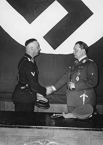 Gestapo - Heinrich Himmler and Hermann Göring at the meeting to formally hand over control of the Gestapo (Berlin, 1934).