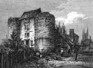 Bungay Castle - The castle gate towers in 1819.