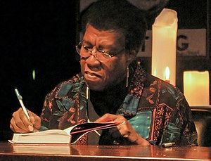 Octavia E. Butler - Butler signs a copy of Fledgling in October 2005.