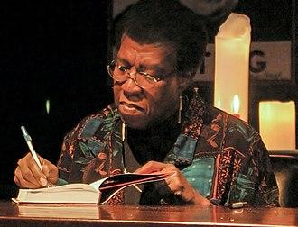 Octavia E. Butler - Butler signs a copy of Fledgling in October 2005.