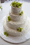 Buttercream lace wedding cake (6152393409).jpg