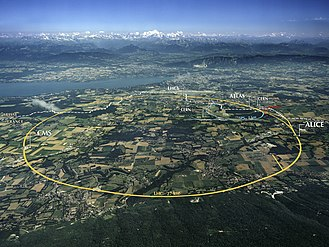 Science tourism - CERN Aerial View of LHC accelerator and its experiments (Lake Geneva in the background)