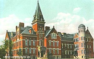 Saint Paul Central High School - Saint Paul Central High School, 10th and Minnesota, with Annex, in use from 1883 to 1912. 1888 version shown.