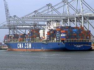 CMA CGM Balzac p2, leaving Port of Rotterdam, Holland 18-May-2007.jpg