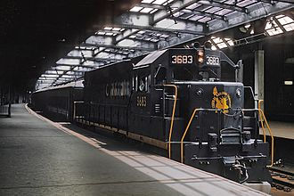 Pennsylvania Station (Newark) - A CNJ train at Penn Station on July 4, 1969