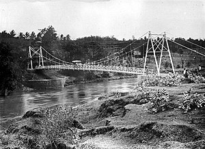 Brantas River - Suspension bridge over the Brantas River (ca.1922)