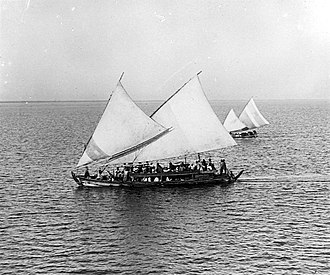 Lateen - Madurese ship with crab claw sails from Java