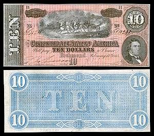 Robert M. T. Hunter - 1864 CSA $10 banknote depicting R.M.T. Hunter.