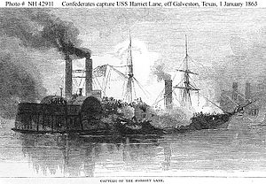 Leon Smith (naval commander) - C.S. Bayou City captures the USS Harriet Lane during the Battle of Galveston