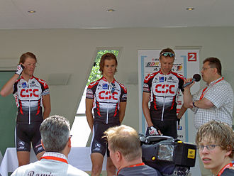 Tinkoff - Christian Müller (left), Linus Gerdemann (middle) and Jens Voigt at the 2005 German Time Trial Championship