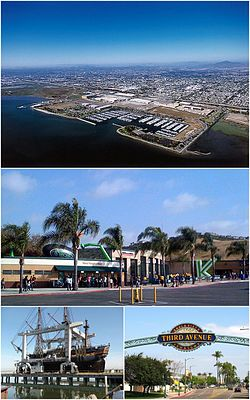 Eemages frae tap, left tae richt: Chula Vista Bayfront, Sleep Train Amphitheatre, HMS Surprise, Third Avenue in Dountoun