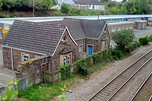 Transport in Wales - Station buildings in Caerleon awaiting platform rebuilding and station re-opening on the Welsh Marches Line.