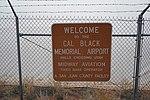 Cal Black Memorial Airport sign, February 2019.jpg