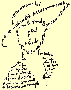 Calligram by Guillaume Apollinaire.