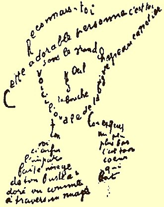 Literature - A calligram by Guillaume Apollinaire. These are a type of poem in which the written words are arranged in such a way to produce a visual image.