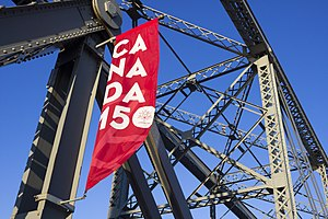 150th anniversary of Canada - Canada 150 Street Banner on the Alexandra Bridge in Ottawa, Canada.