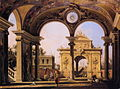 Canaletto - Capriccio of a Renaisance Triumphal Arch seen from the Portico of a Palace.JPG