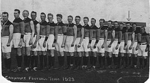 Cananore Football Club - The 1923 Cananore Football Team. Jack Gardiner, the captain-coach (then aged 42), is at the far left; Ted Terry (marked with arrow) is third from the right.