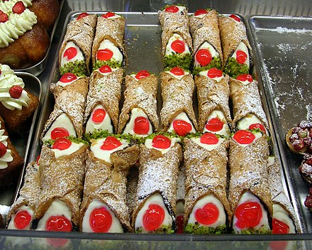 Cannoli, a popular pastry associated with Sicilian cuisine Cannoli siciliani.jpg
