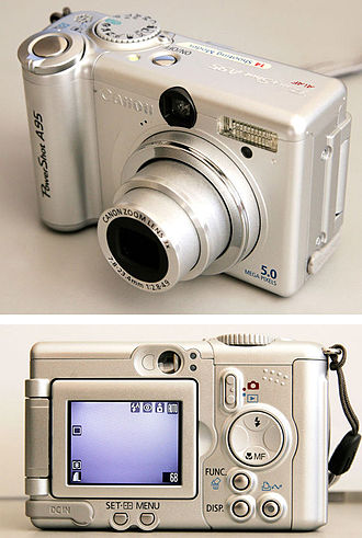 Digital camera - Front and back of Canon PowerShot A95, a typical pocket-sized compact camera